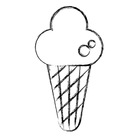 Delicious cone ice cream vector illustration design.