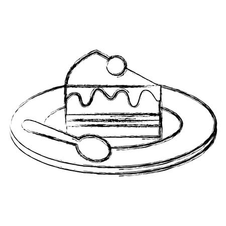 Plaat met zoete cakeplak en lepel, vectorillustratieontwerp