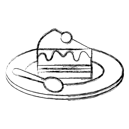 Plate with sweet cake slice and spoon, vector illustration design