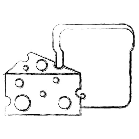 Broodtoost met ontwerp van de kaas het vectorillustratie.
