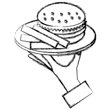 Hand with french fries and burger vector illustration design.