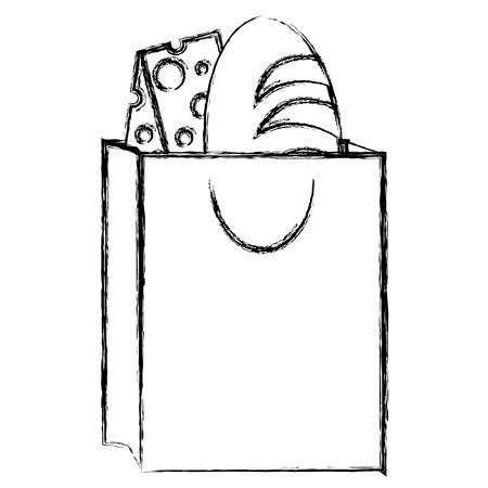 おいしいパンとチーズのバッグ、ベクトルイラストデザイン  イラスト・ベクター素材