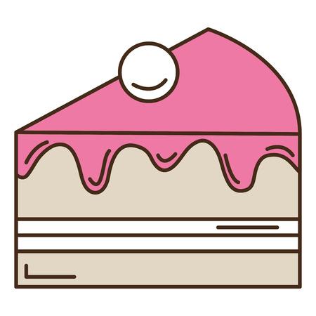 Zoet ontwerp van de het pictogram het vectorillustratie van het cakegedeelte Stock Illustratie