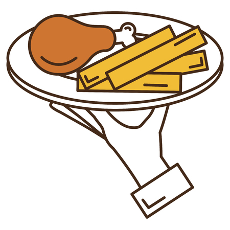 Hand server with thigh chicken and french fries vector illustration design Çizim