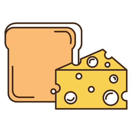 bread toast with cheese vector illustration design