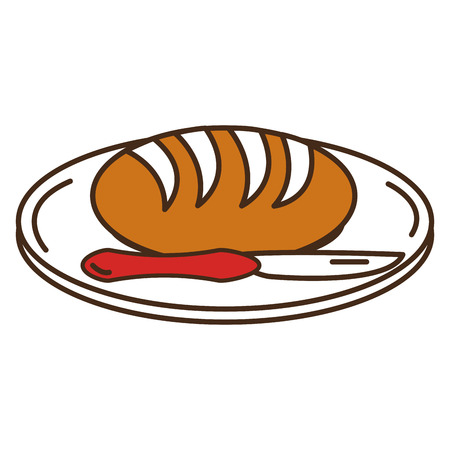 Dish and cutlery with bread vector illustration design