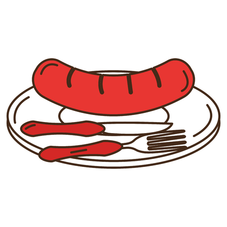 Dish and cutlery with sausage vector illustration design
