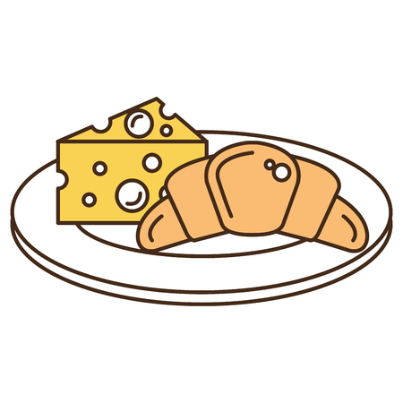 Delicious croissant bread with cheese vector illustration design 向量圖像