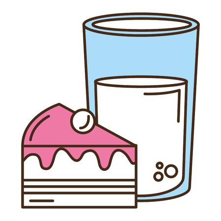 Sweet cake portion with milk glass vector illustration design
