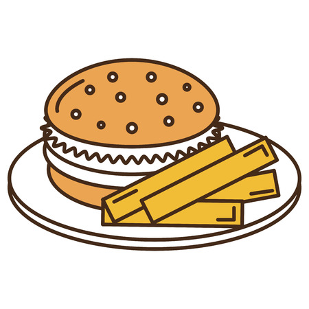 Dish with french fries and burger vector illustration design Illustration