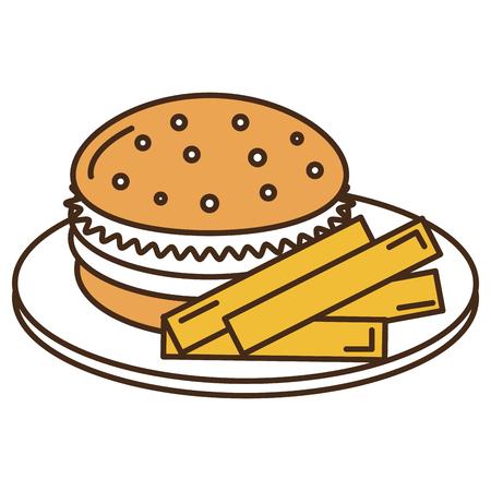 감자 튀김과 햄버거 벡터 일러스트 레이 션 디자인 접시