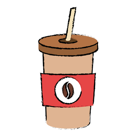 Coffee in plastic container vector illustration design