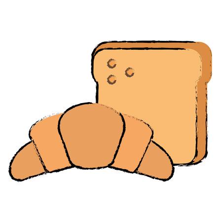 Bread toast with croissant vector illustration design 向量圖像