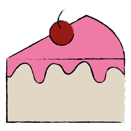 ontwerp van de het pictogram het vectorillustratie van het zoete cakegedeelte
