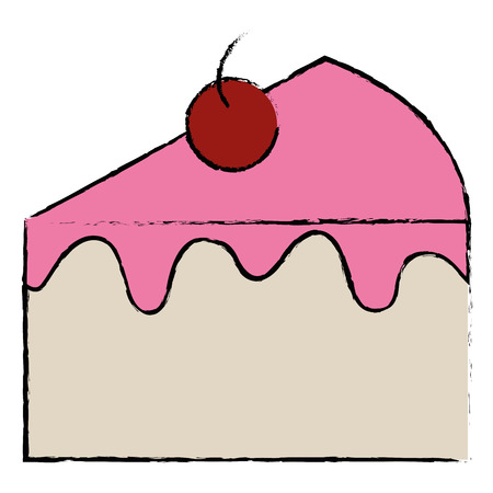 sweet cake portion icon vector illustration design