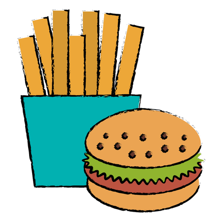French fries with burger vector illustration design Illustration
