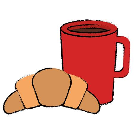 크루아상 벡터 일러스트 디자인과 함께 커피 컵 음료 스톡 콘텐츠 - 94244485