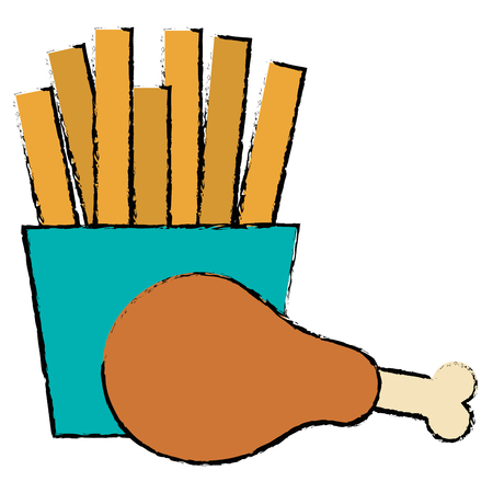 Thigh chicken meat with french fries vector illustration design