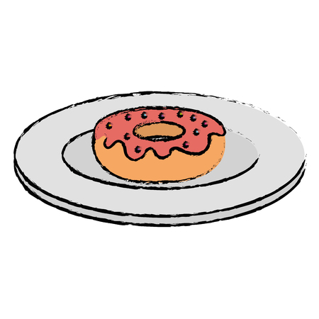 Dish with sweet donut icon vector illustration design Illusztráció