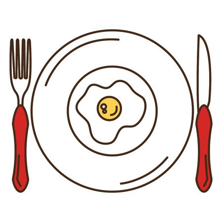 Schotel en bestek met ei gebraden vectorillustratieontwerp