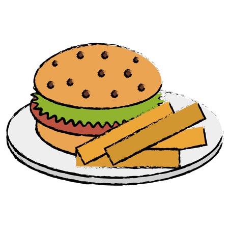 dish with french fries and burger vector illustration design
