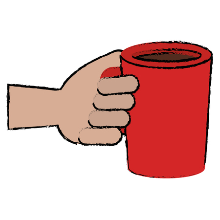 hand with coffee cup drink icon vector illustration design