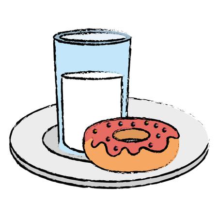 Dish with sweet donut icon vector illustration design Ilustração