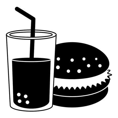 delicious burger with soda vector illustration design