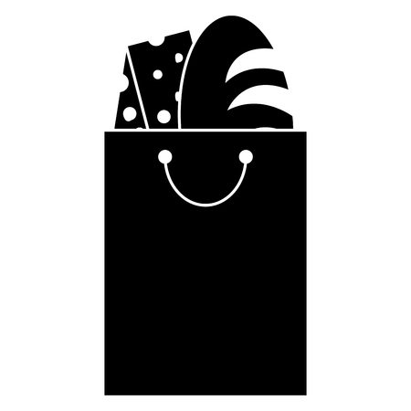 Bag with delicious bread and cheese vector illustration design Illustration
