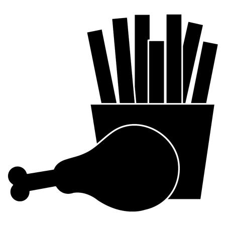 Het kippenvlees van de dij met ontwerp van de frieten het vectorillustratie Stock Illustratie