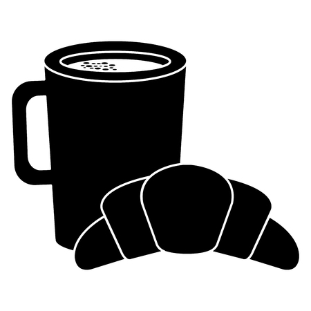 Coffee cup drink with croissant vector illustration design