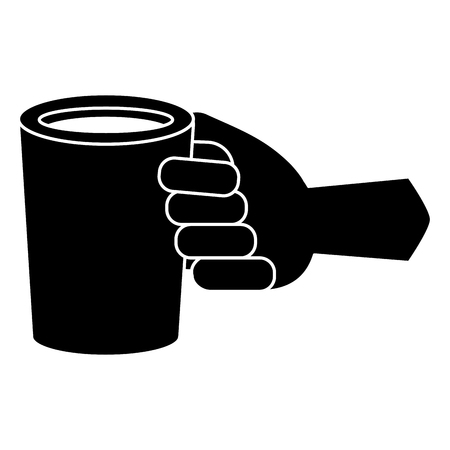 Hand with coffee cup drink solid filled icon illustration.