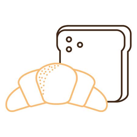 Broodtoost met ontwerp van de croissant het vectorillustratie.