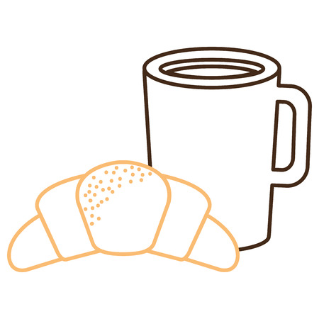 Coffee cup drink with croissant vector illustration design. Vectores