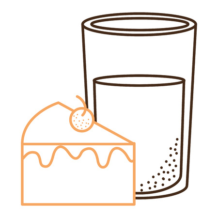 sweet cake portion with milk glass vector illustration design