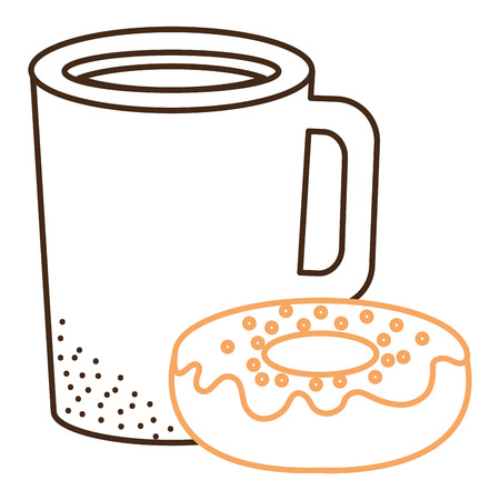 coffee cup drink with donut vector illustration design