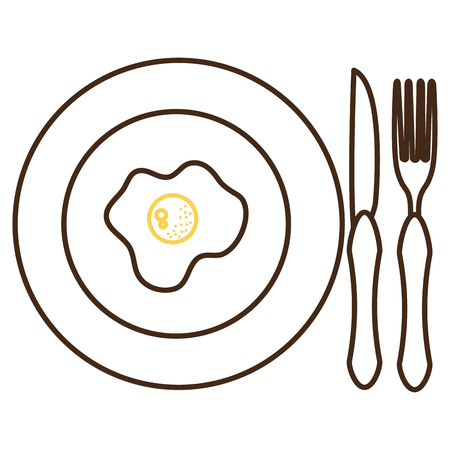 dish and cutlery with egg fried vector illustration design Иллюстрация