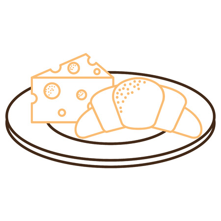 Delicious croissant bread with cheese vector illustration design Stock Photo