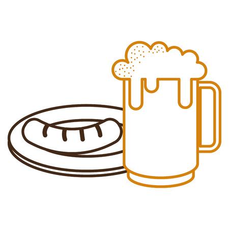 jar beer fresh and sausage vector illustration design