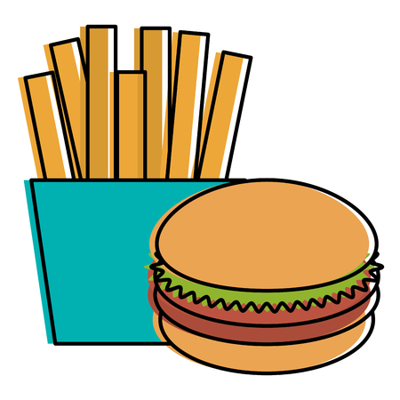 French fries with burger vector illustration design Ilustração
