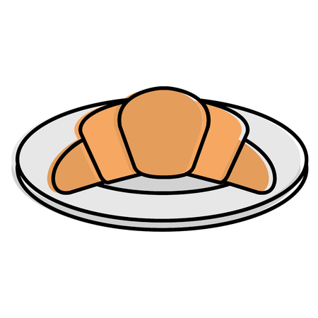 Dish with delicious croissant bread icon vector illustration design