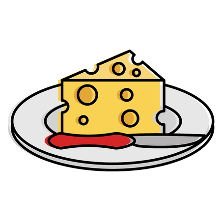 Dish with cheese piece and knife vector illustration design