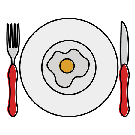 Dish and cutlery with egg fried vector illustration design