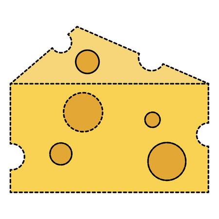 Vector de illustratieontwerp van het kaasstuk geïsoleerd pictogram