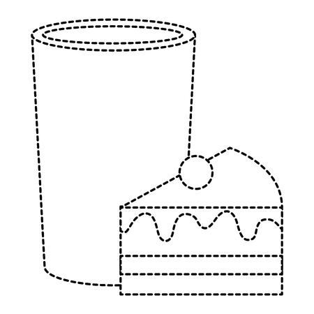 zoet cakegedeelte met vector de illustratieontwerp van het melkglas Stock Illustratie