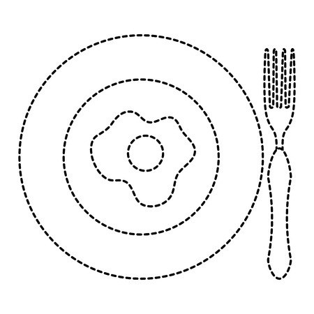 schotel en bestek met ei gebakken vector illustratie ontwerp