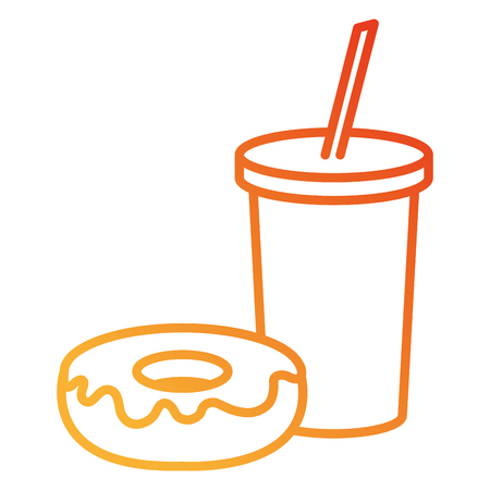 delicious sweet donut with beverage vector illustration design