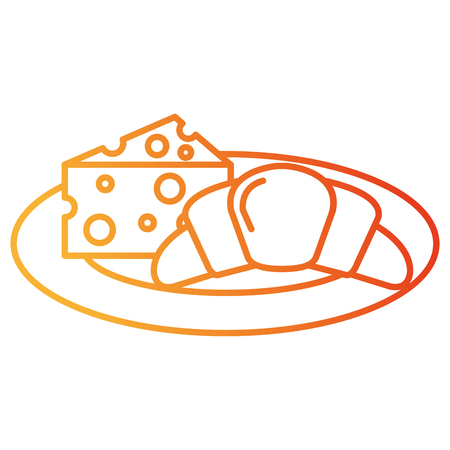 delicious croissant bread with cheese vector illustration design