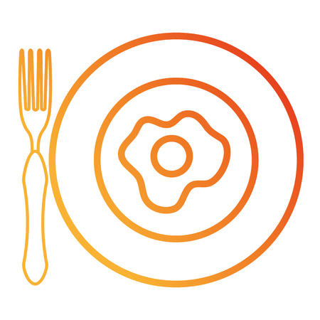 卵揚げベクトルイラストデザインの料理とカトラリー