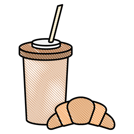 coffee in plastic container with croissant vector illustration design